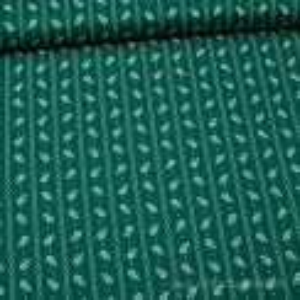 Trachtenstoff: Blümchen mit Kettenranke dunkelgrün für Dirndl und Tracht, meterware