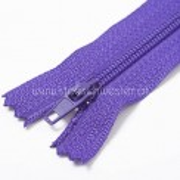 40cm Feiner Nylon Reißverschluß, 2mm, unteilbar, lila