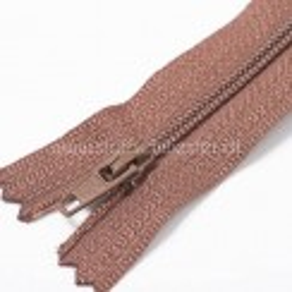 20cm Feiner Nylon Reißverschluß, 2mm, unteilbar, rehbraun