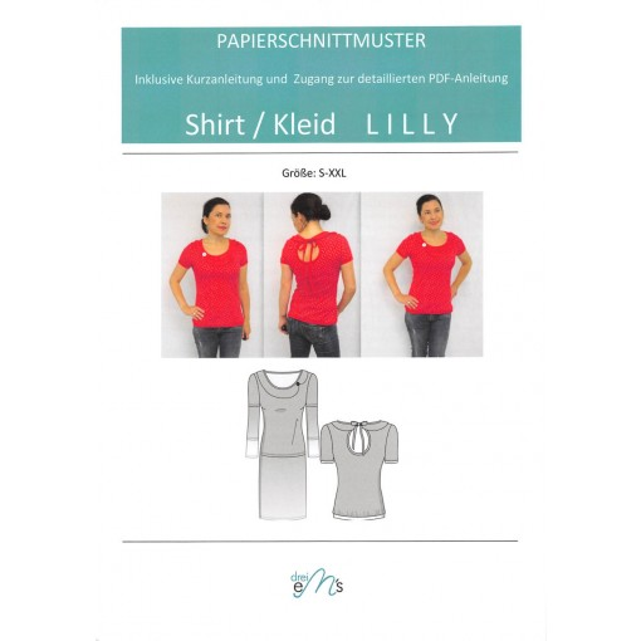 """Papierschnittmuster Shirt/Kleid """"Lilly"""""""