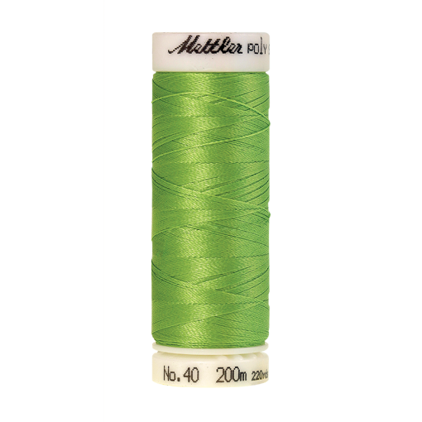 Amann Mettler Poly Sheen Apple Green glänzt durch den trilobalen Fadenquerschnitt besonders schön. Zum Sticken, Quilten, Nähen. 200m Spule