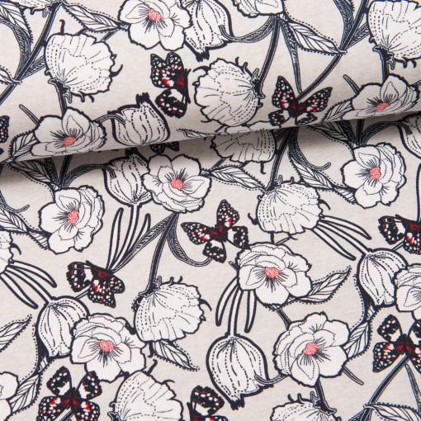 Butterflies & Flowers Jersey hellgrau