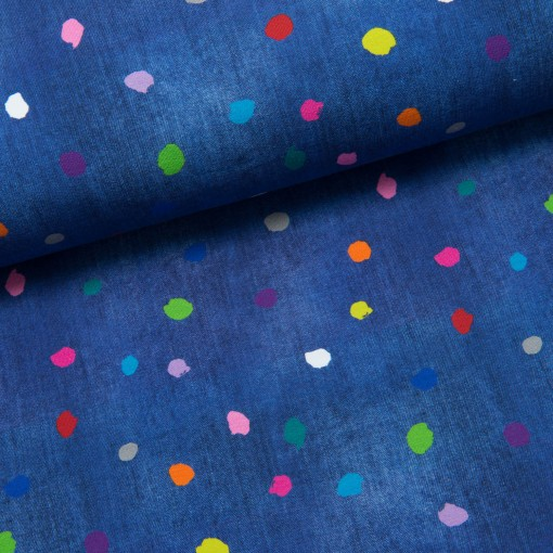 Coloured Dots Sommersweat jeansblau