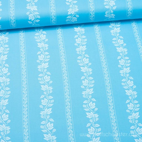 Trachtenstoff: Breite Blumenstreifen blau für Dirndl und Tracht, meterware