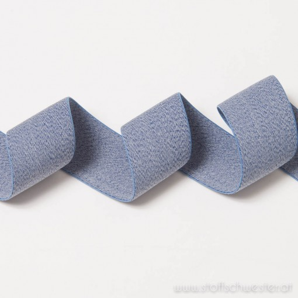 40mm Gummiband meliert kobaltblau