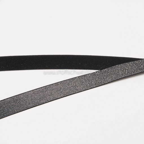 25mm Glitzergummi schwarz