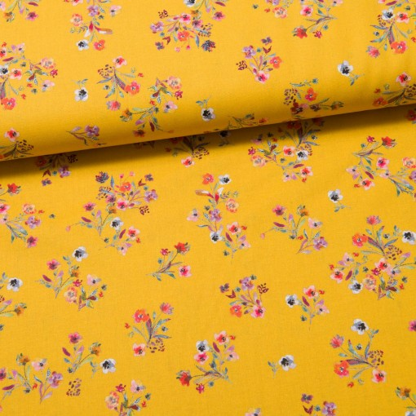 Scattered Flowers Baumwolle gelb
