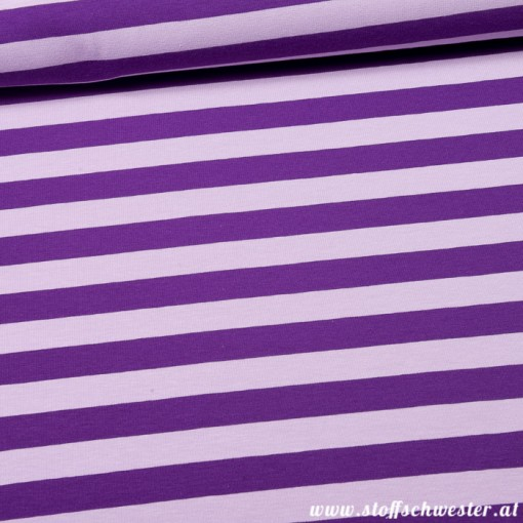 Stoffschwesters Streifenjersey gilda lila flieder
