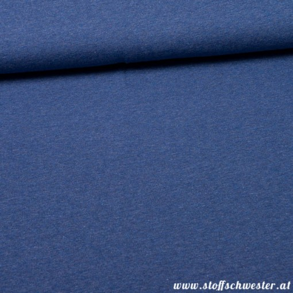 Stoffschwesters Unijersey meliert Jaro jeansblau