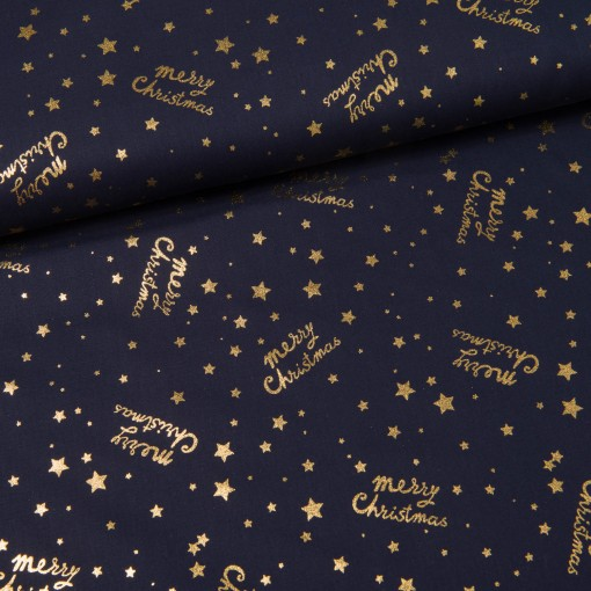 Merry Christmas Glamour Baumwolle dunkelblau