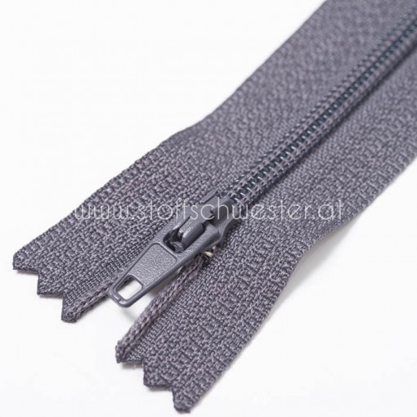 30cm Feiner Nylon Reißverschluß, 2mm, unteilbar, dunkelgrau