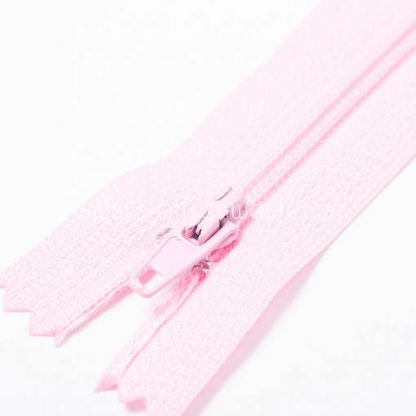 60cm Feiner Nylon Reißverschluß, 2mm, unteilbar, rosa