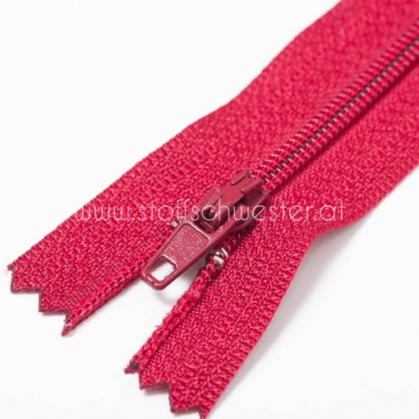 35cm Feiner Nylon Reißverschluß, 2mm, unteilbar, burgund