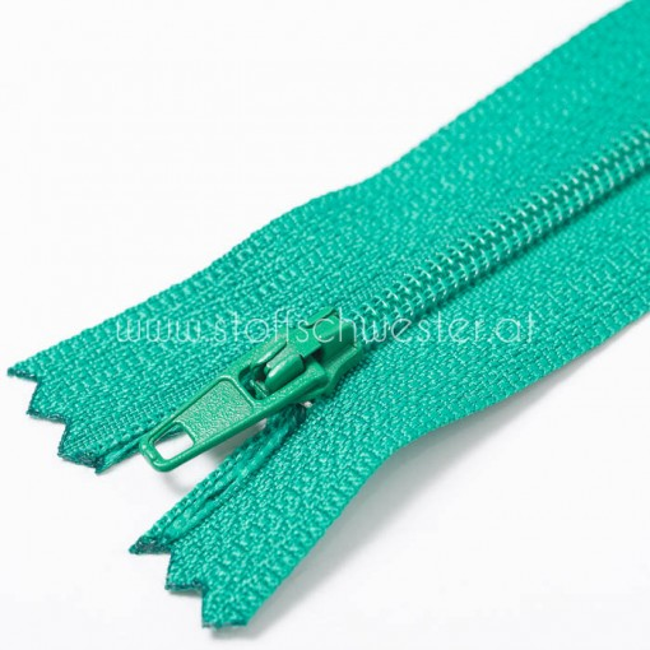15cm Feiner Nylon Reißverschluß, 2mm, unteilbar, grasgrün