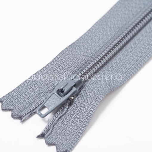 60cm Feiner Nylon Reißverschluß, 2mm, unteilbar, grau