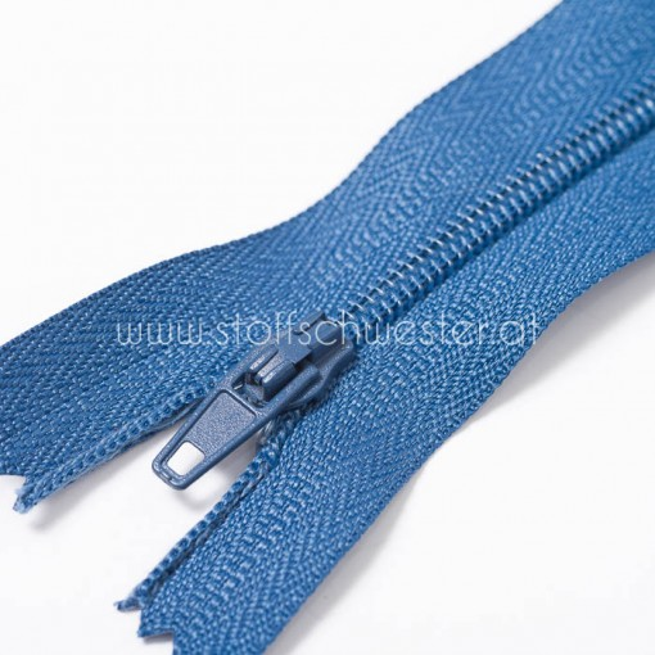 30cm Feiner Nylon Reißverschluß, 2mm, unteilbar, jeansblau