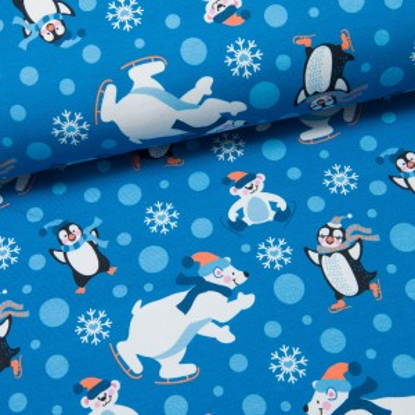 Snow Flakes Sweat by Birgit Boley Eisbären und Pinguine mittelblau