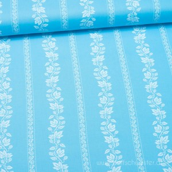 *SALE* Breite Blumenstreifen blau
