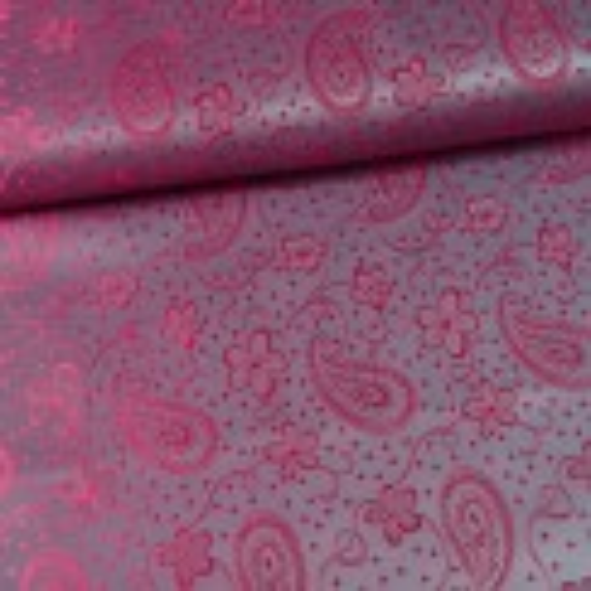 Taft-Jacquard Paisley grau/pink