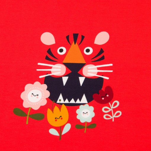 Sommersweat-Panel Flower Tiger rot (Rapport 70cm)