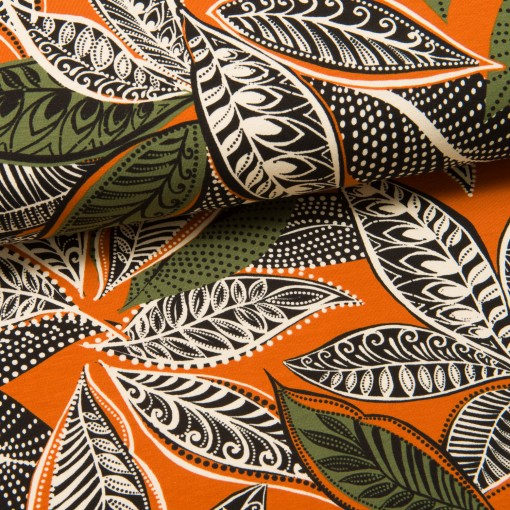 Patterned Leaves Jersey orange/grün