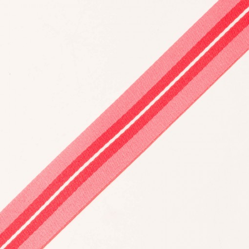 25mm Galonband gestreift rosa/rot
