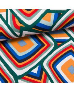 Retro Pattern Viskosejersey grün/orange