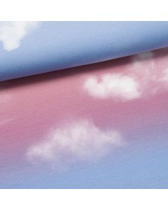 Panel Cloudy Sky by lycklig Design Modalsweat blau/koralle (Rapport 65cm)