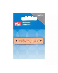 "Prym ""Made With Love"" Leder Label rechteckig natur"